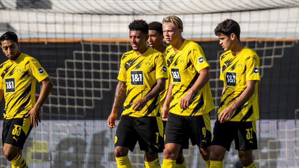 Jung und gut:Die BVB-Youngster Jadon Sancho, Jude Bellingham, Erling Braut Haaland und Giovanni Reyna. Foto: David Inderlied/dpa