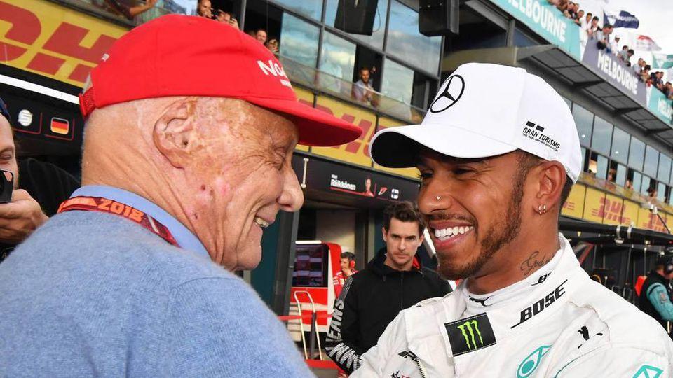 Lewis Hamilton (r.) mit Niki Lauda in Melbourne