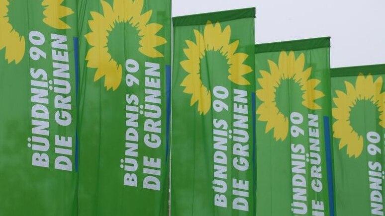 Fahnen der Partei Bündnis 90 Die Grünen wehen im Wind. Foto: Karl-Josef Hildenbrand/dpa/Symbolbild