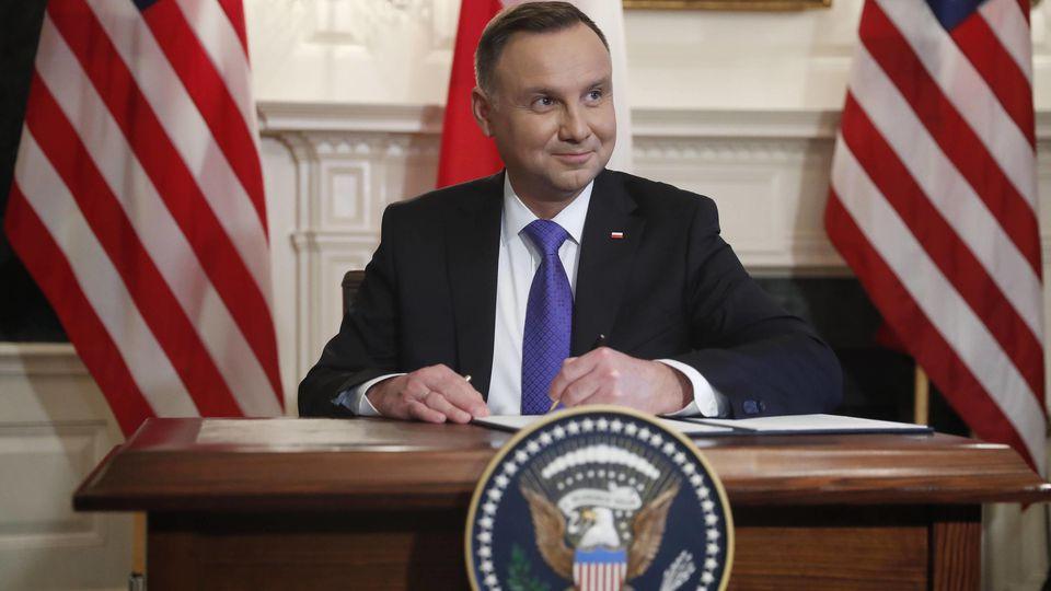 Polens Präsident Duda im Weißen Haus in Washington