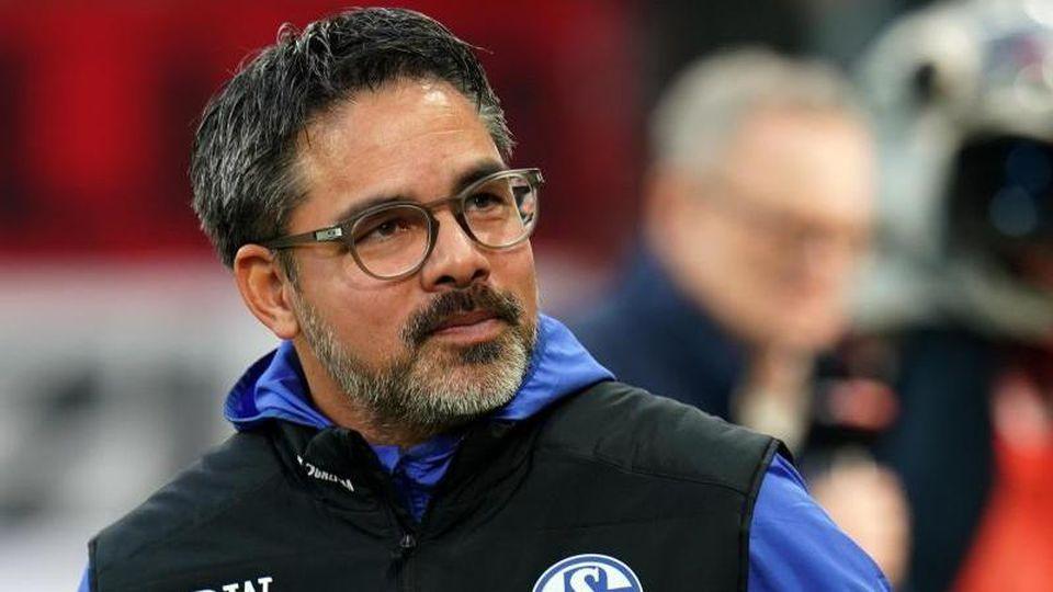 Schalke-Trainer David Wagner vor Spielbeginn. Foto: Thomas Frey/dpa
