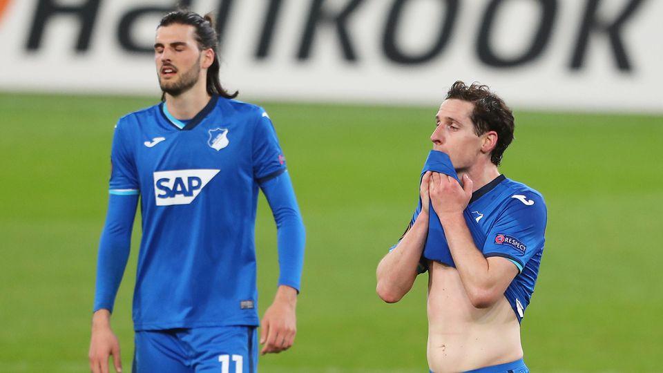 Fassungslos: Hoffenheims Grillitsch (l.) und Rudy