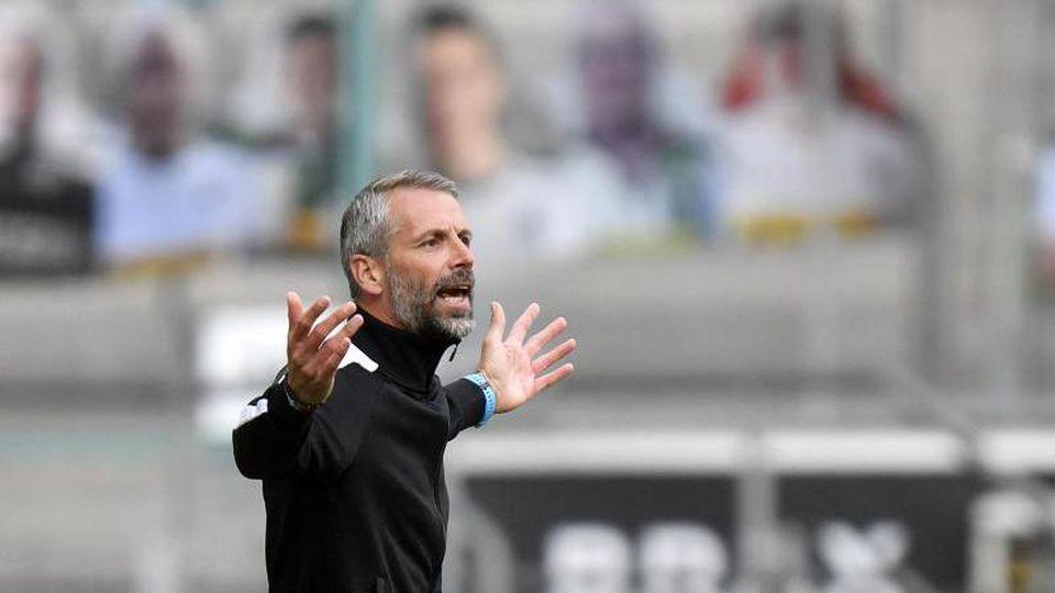 Mönchengladbachs Trainer Marco Rose. Foto: Martin Meissner/AP Pool/dpa/Archivbild