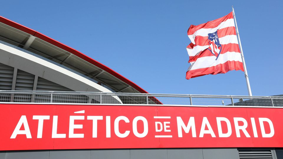 September 18, 2019, Madrid, Spain: The Giant Flag of Atletico de Madrid nearby The Wanda Metropolitano stadium is pictu