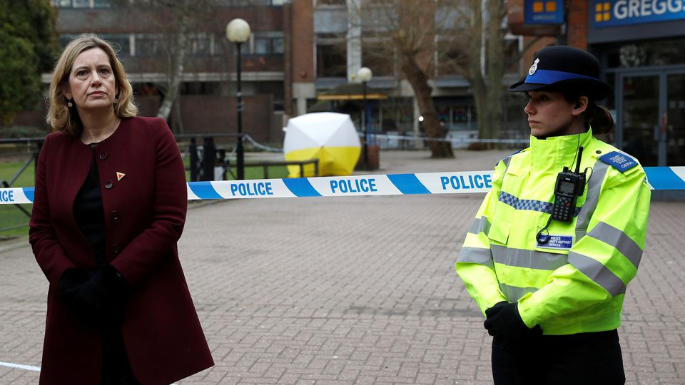 Britain's Home Secretary Amber Rudd visits the scene where Sergei Skripal and his daughter Yulia were found after having been poisoned by a nerve agent in Salisbury, Britain, March 9, 2018. REUTERS/Peter Nicholls