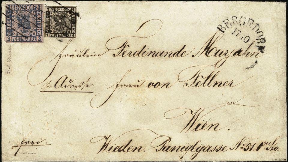 Wertvoller Auslandsbrief von 1861 aus Bergedorf