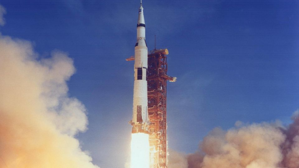 July 16, 1969 - Kennedy Space Center, U.S. - Saturn V launch vehicle (SA-506) for the Apollo 11 mission liftoff at 8:32 am CDT, July 16, 1969, from launch complex 39A at the Kennedy Space Center. Apollo 11 was the first manned lunar landing mission w