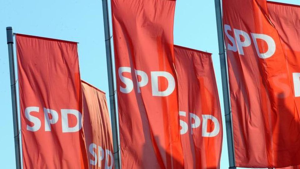 Fahnen der SPD. Foto: Patrick Seeger/Archiv
