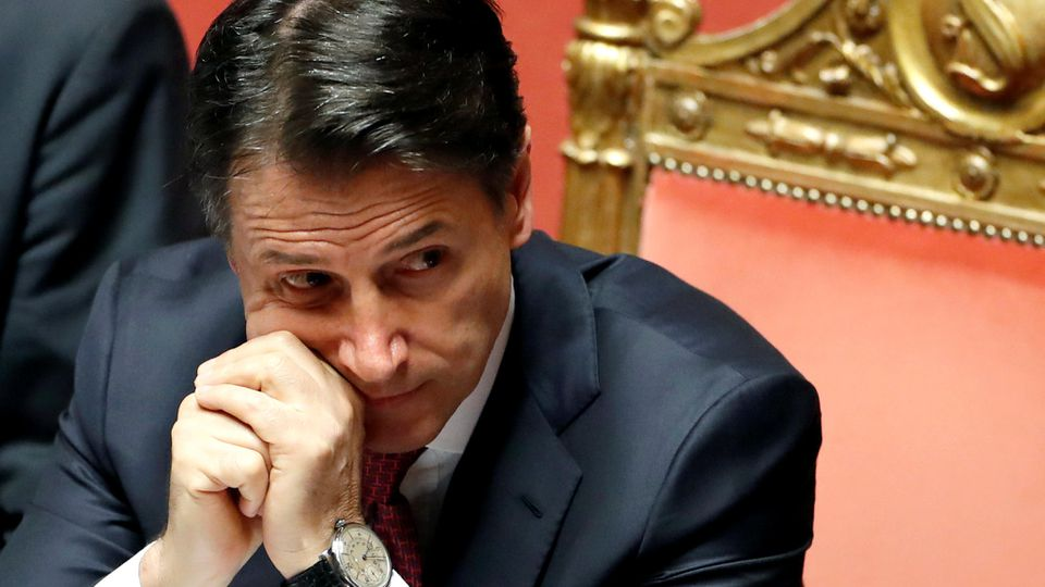 Italian Prime Minister Giuseppe Conte addresses the upper house of parliament over the ongoing government crisis, in Rome