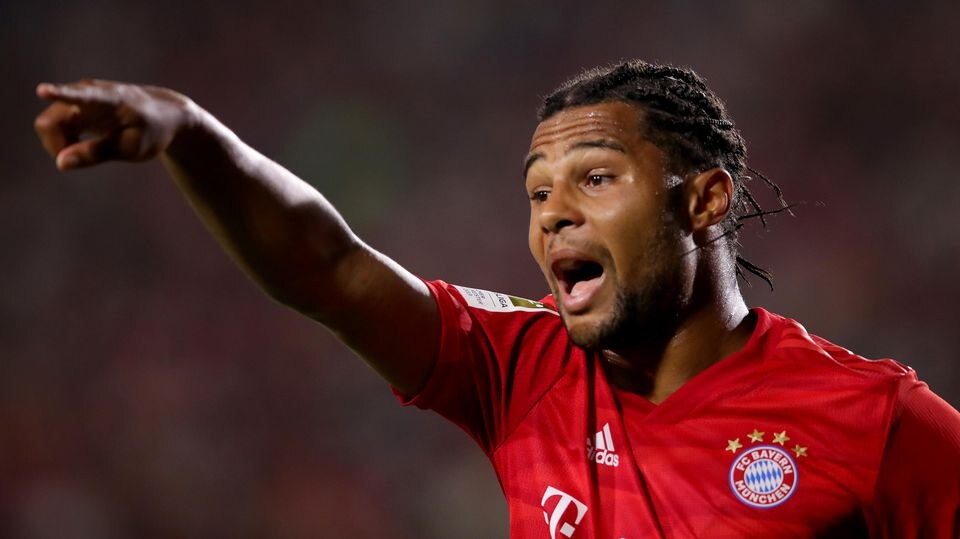CARSON, CALIFORNIA - JULY 17: Serge Gnabry of Bayern Muenchen reacts during the 2019 International Champions Cup match between Arsenal London and FC Bayern Muenchen at Dignity Health Sports Park on July 17, 2019 in Carson, California. (Photo by Alexa