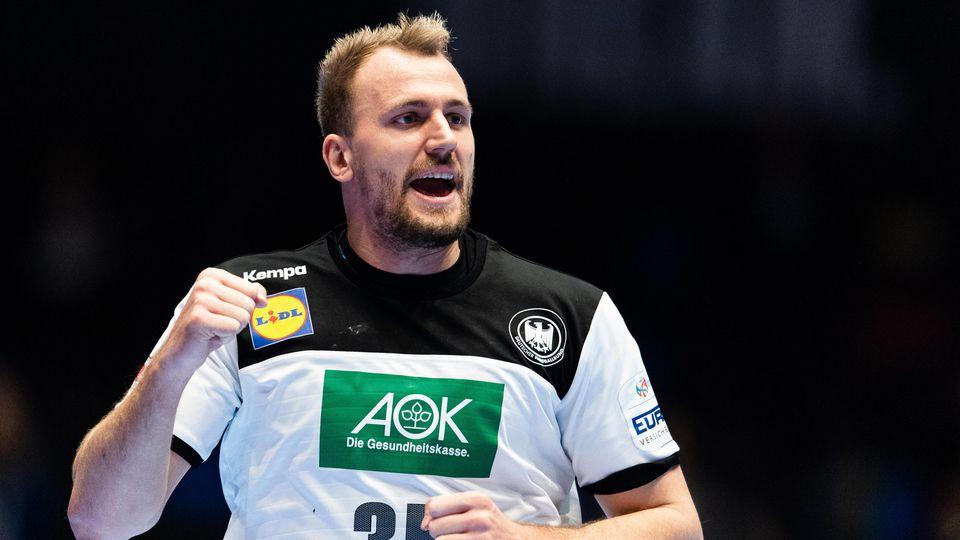 200109 Julius Kühn of Germany celebrates during the EHF European Handball Championship match between Germany and the Ne