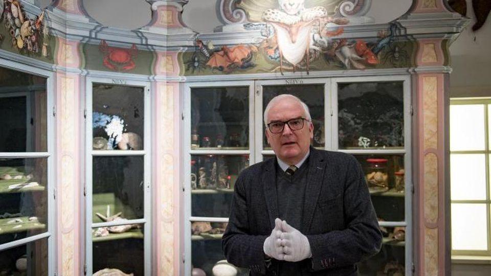 Thomas Müller-Bahlke, Direktor der Franckeschen Stiftungen Halle, steht in der Kunst- und Naturalienkammer der Franckesche Stiftungen vor dem Tierschrank. Foto: Hendrik Schmidt/dpa-Zentralbild/ZB