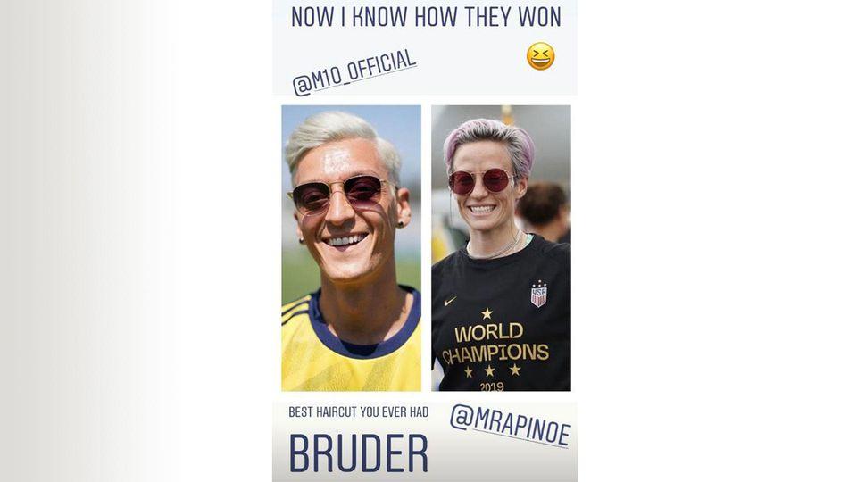 """Aubameyang veräppelt seinen Teamkollegen in seiner Instagram-Story. """"Auba"""" vergleicht Özil mit der Frauen-Weltmeisterin Megan Rapinoe."""
