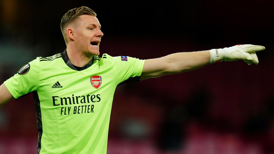 Mandatory Credit: Photo by Javier Garcia/BPI/Shutterstock (11849358dr) Arsenal goalkeeper Bernd Leno Arsenal v Slavia P