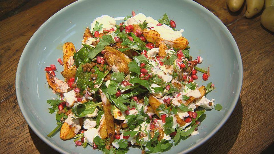 Kartoffelheld - Knollengerichte für jeden Tag: Harissa-Kartoffeln mit Linsensalat