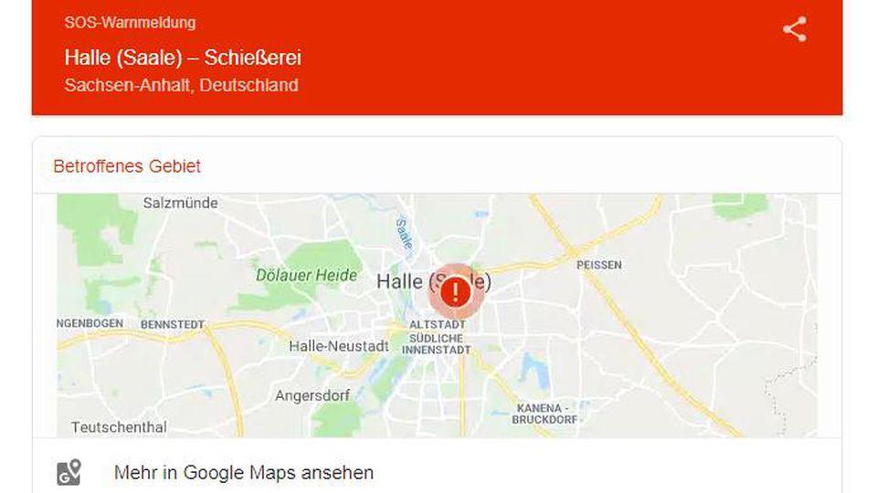 Der Online-Kartendienst Google Maps warnt vor Schießerei in Halle.