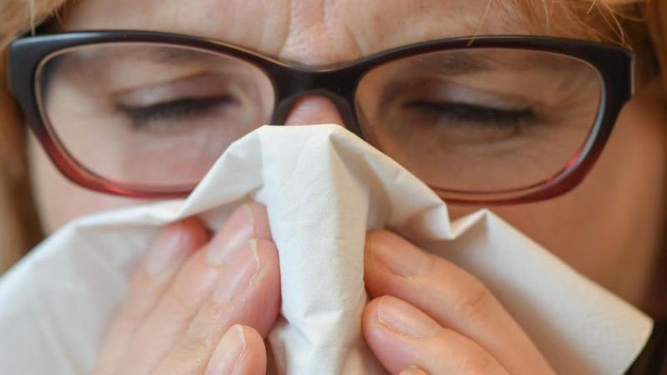 Eine Frau benutzt ein Taschentuch. Foto: Patrick Pleul/dpa-Zentralbild/dpa/Archivbild