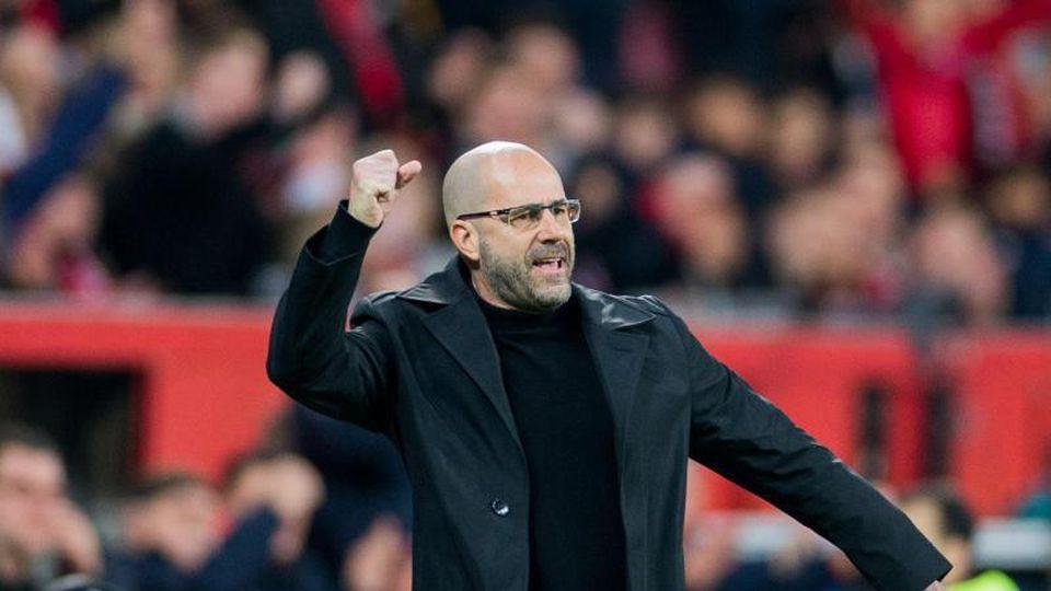 Leverkusens Trainer Peter Bosz ballt vor Freude die Faust. Foto: Rolf Vennenbernd/Archiv