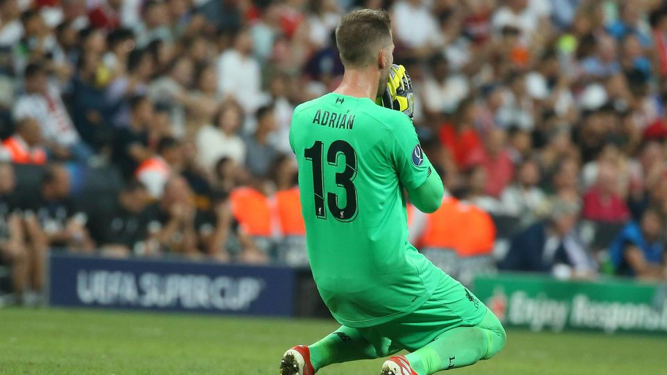 Goalkeeper Adrian of Liverpool during the UEFA SUPERCUP match between Liverpool and Chelsea at Vodaf