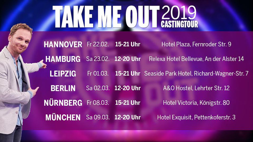 """Komm vorbei und bewirb dich auf der großen """"Take Me Out""""-Castingtour 2019."""