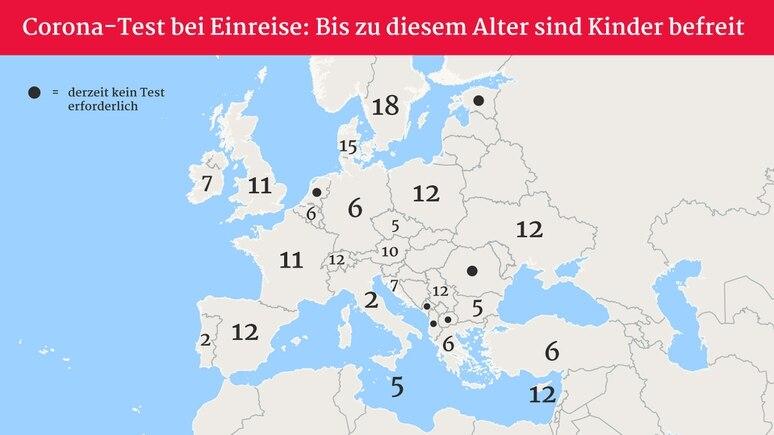 Europakarte: Ab diesem Alter müssen Kinder in der Regel einen Corona-Test vor der Einreise machen