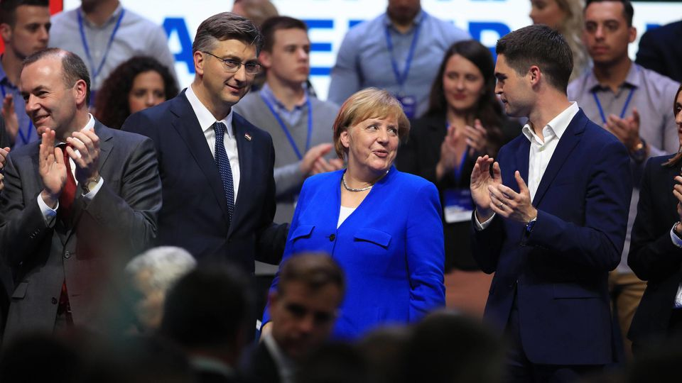 Angela Merkel in Croatia 18.05.2019.,Croatia, Zagreb - German Chancellor Angela Merkel participated in the central election Rally of the Croatian Democratic Union for the European Parliament elections. Manfred Weber, Andrej Plenkovic, Angela Merkel,