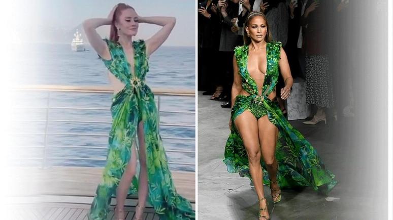 Model Barbara Meier trägt Jennifer Lopez' Kultkleid von Versace.