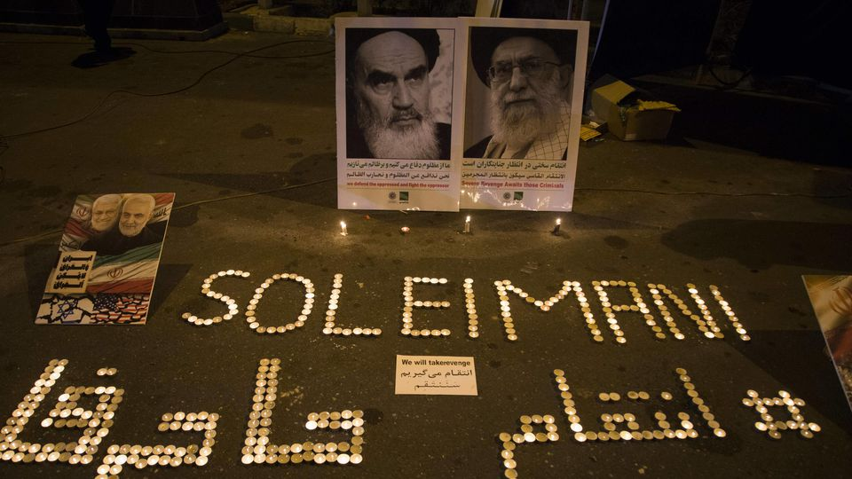 January 7, 2020, Tehran, Iran: Iranians light candles during a gathering to commemorate the memory of the former IRGC Qods Force commander Qasem Soleimani in central Tehran, Iran. Qasem Soleimani, the head of the Iranian Islamic Revolutionary Guards