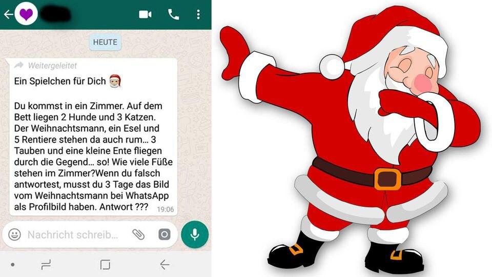 Ein Screenshot von dem weitergeleiteten Rätsel und ein Symbolbild eines tanzenden Weihnachtsmanns.