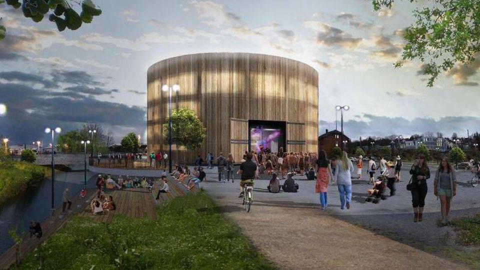 Die Animation zeigt den Entwurf für ein Globe Theater im oberfränkischen Coburg. Foto: Isabell Stengel/Archiv