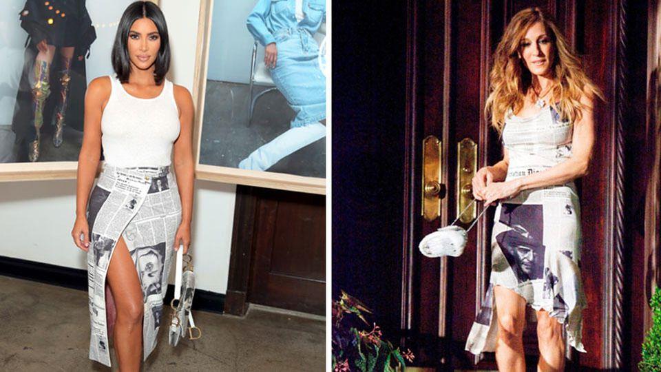"""Kim Kardashian trägt einen Retro-Rock, den viele noch von Sarah Jessica Parker als Carrie Bradshaw in der Kultserie """"Sex and the City"""" kennen sollten."""