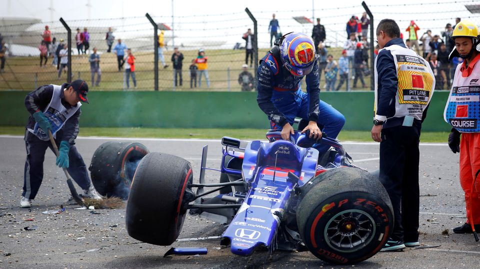 Formula One F1 - Chinese Grand Prix - Shanghai International Circuit, Shanghai, China - April 13, 2019   Toro Rosso's Alexander Albon after crashing during practice   REUTERS/Aly Song