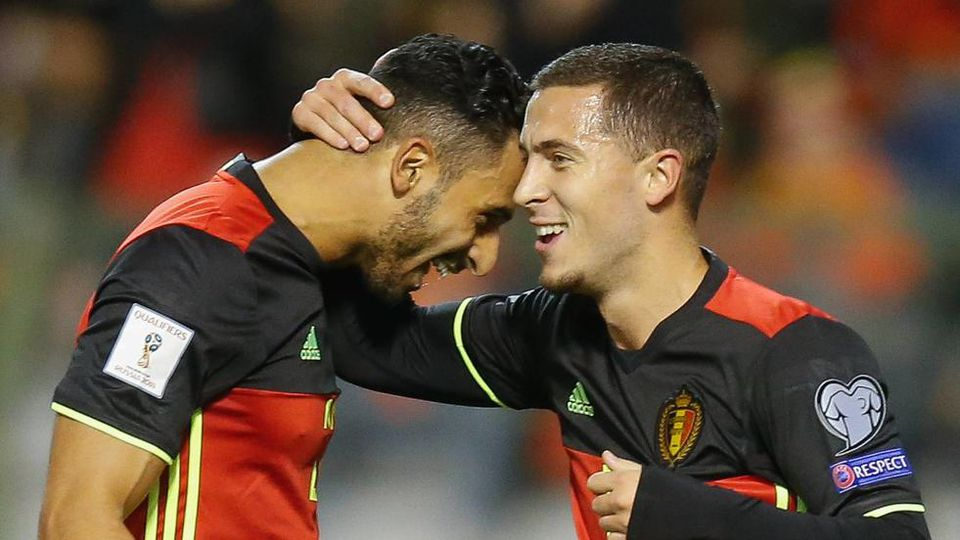 Belgium s Eden Hazard celebrates after scoring the 1-0 goal during a soccer game between Belgian national team Nationalteam Red Devils and Cyprus, in Brussels, Tuesday 10 October 2017, game 9 in Group H of the qualifications for the 2018 World Cup. B