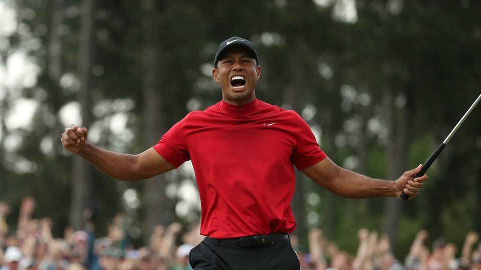 April 14, 2019 - Augusta, GA, USA - TIGER WOODS celebrates after winning the Masters during the final round at Augusta National Golf Club in Augusta, Ga. Golf 2019: Masters: Final Round PUBLICATIONxINxGERxSUIxAUTxONLY - ZUMAm67_ 20190414_zaf_m67_117