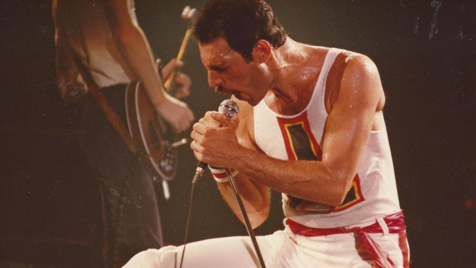 Queen-Sänger Freddie Mercury bei einem Konzert im Jahr 1982