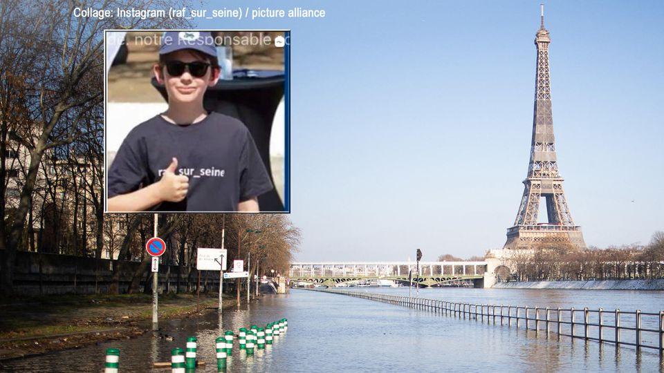 Raphaël sammelt Müll aus der Seine in Paris.