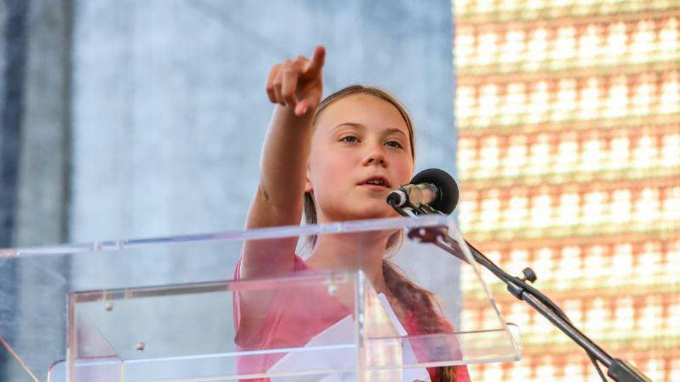 Greta Thunberg spricht bei einer Kundgebung in New York. Foto: Vanessa Carvalho/ZUMA Wire