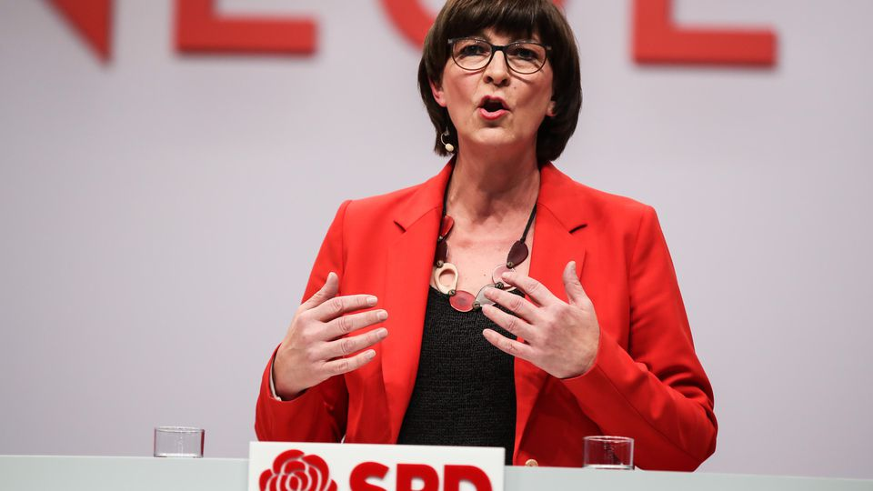 191206 -- BERLIN, Dec. 6, 2019 -- One of the elected leaders of Germany s Social Democratic Party SPD Saskia Esken delivers a speech during the SPD party convention in Berlin, Germany, Dec. 6, 2019. Shan Yuqi GERMANY-BERLIN-SPD-CONVENTION DanxYuqi PU