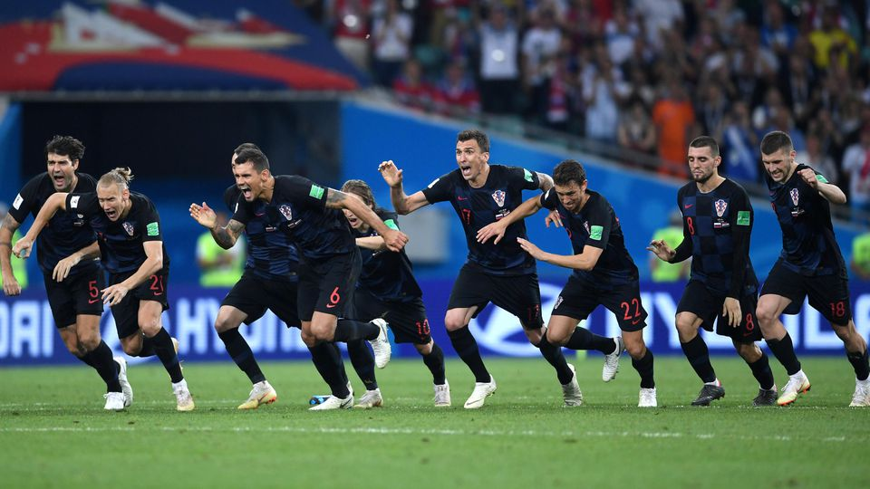 SOCHI, RUSSIA - JULY 07:  Croatia players celebrate winning the penalty shoot out during the 2018 FIFA World Cup Russia Quarter Final match between Russia and Croatia at Fisht Stadium on July 7, 2018 in Sochi, Russia.  (Photo by Laurence Griffiths/Ge