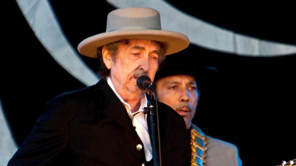 Bob Dylan während eines Auftritts in England