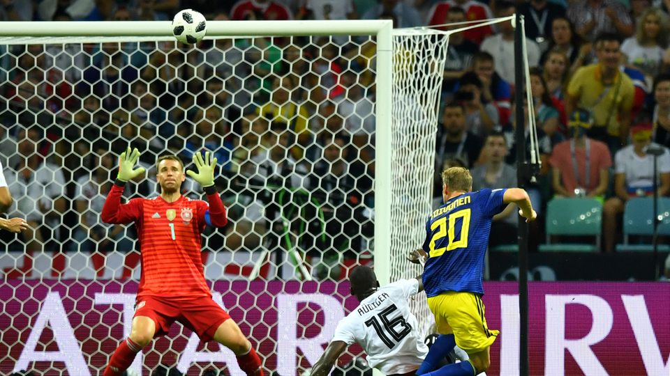 Soccer Football - World Cup - Group F - Germany vs Sweden - Fisht Stadium, Sochi, Russia - June 23, 2018   Sweden's Ola Toivonen scores their first goal    REUTERS/Dylan Martinez