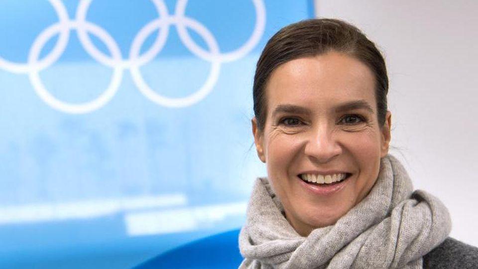 """Die ehemalige Eiskunstläuferin Katarina Witt findet eine erneute deutsche Olympia-Bewerbung """"erstrebenswert"""". Foto: Peter Kneffel"""