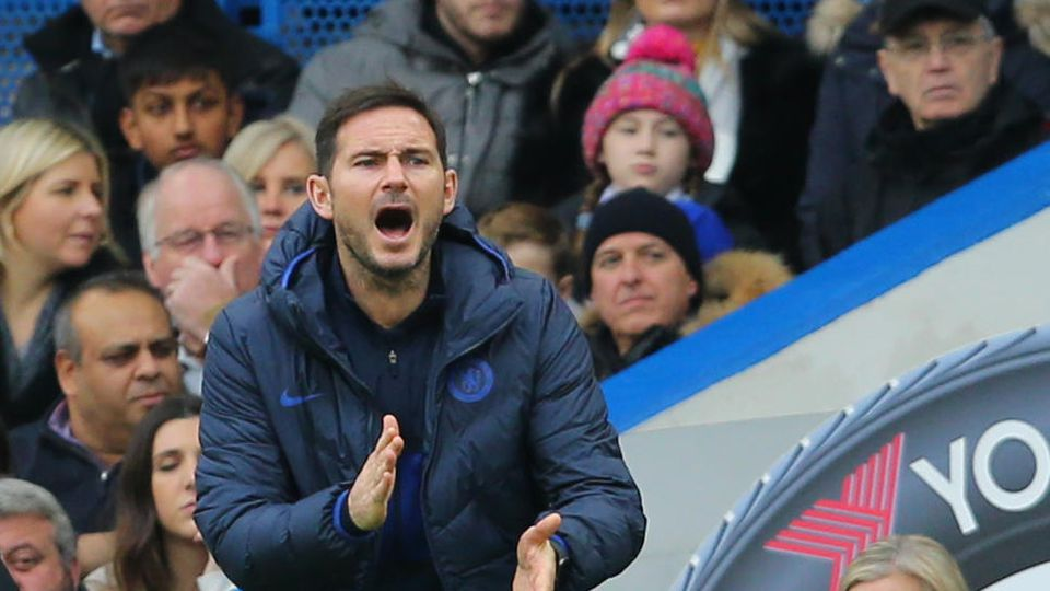 Frank Lampard manager of Chelsea urges on his players during the Premier League match at Stamford Bridge, London. Pictu