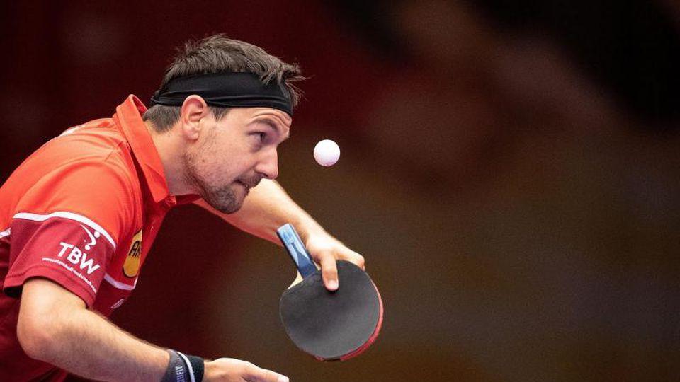Timo Boll spielt den Ball. Foto: Marius Becker/dpa/Archivbild