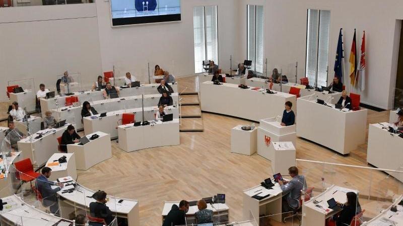 Blick in den Plenarsaal des Brandenburger Landtags. Foto: Bernd Settnik/dpa-Zentralbild/dpa