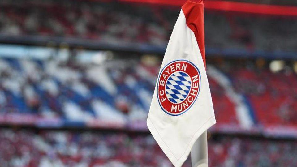 Das Vereinswappen des FC Bayern München ist auf der Eckfahne zu sehen. Foto: Sven Hoppe/dpa/Archivbild