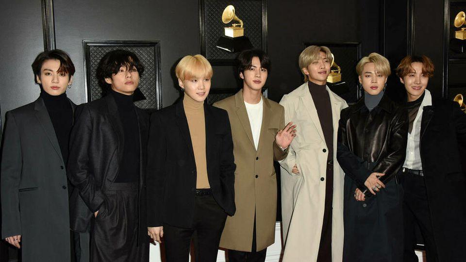 Die K-Pop-Boygroup BTS bei der diesjährigen Grammy-Verleihung.