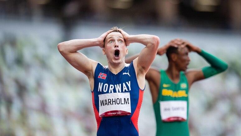 Karsten Warholm nach seinem Rekordlauf über die 400 m Hürden.