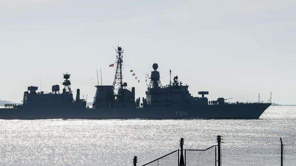 """Die Fregatte """"Lübeck"""" der Deutschen Marine. Foto: Sina Schuldt/dpa/Archivbild"""