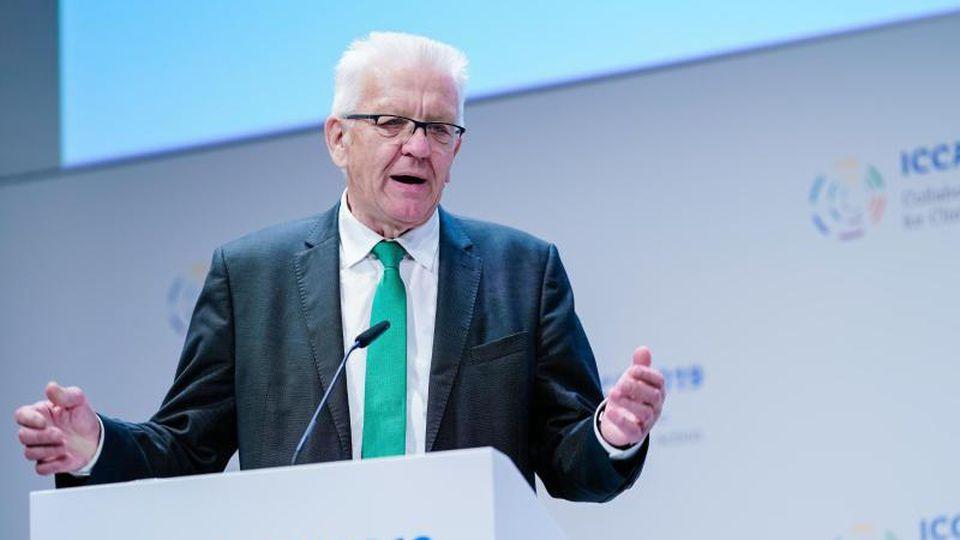 Winfried Kretschmann (Grüne), Ministerpräsident des Landes Baden-Württemberg, spricht bei der ICCA2019. Foto: Uwe Anspach